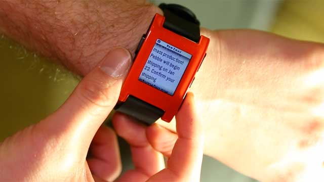 PHOTO: The Pebble smartwatch works with an iPhone or Android phone.