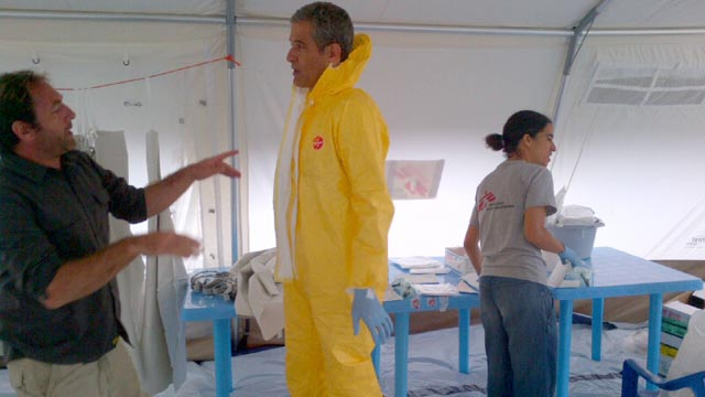 PHOTO: ABCs Dr. Richard Besser in a biohazard suit before going to visit ebola victims in Uganda.