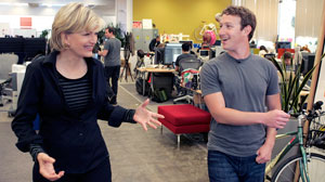 Diane Sawyer with Mark Zuckerberg