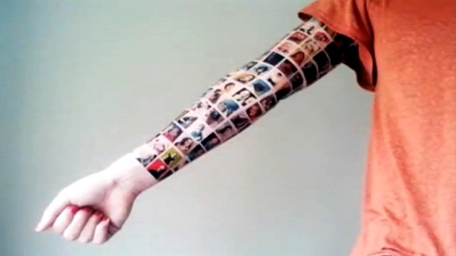 PHOTO:&nbsp;A YouTube user getting a tattoo montage of her Facebook friends' profile pictures.