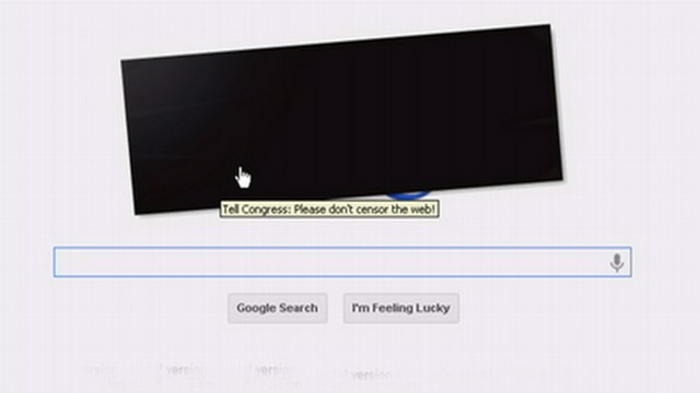 VIDEO: Google and other sites protest anti-piracy laws with new look.