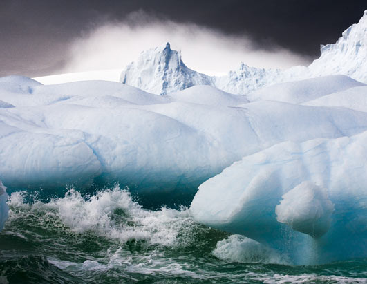 Photo: Old icebergs eventually get weathered by the elements.