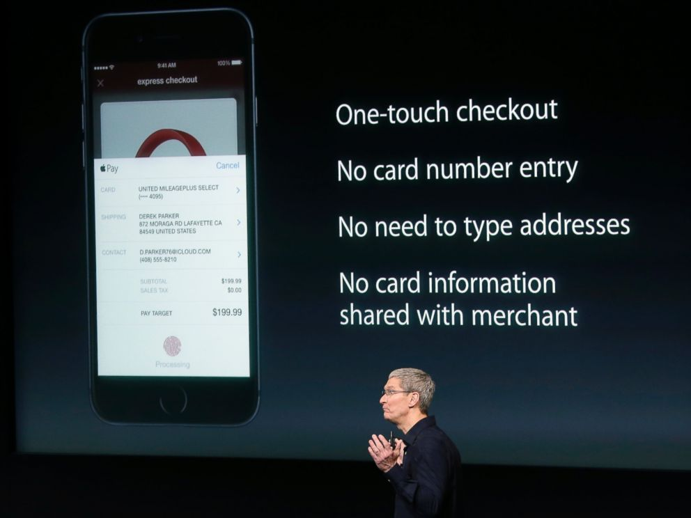 PHOTO: Apple CEO Tim Cook discusses the new Apple Pay product during an event at Apple headquarters on Oct. 16, 2014 in Cupertino, Calif.