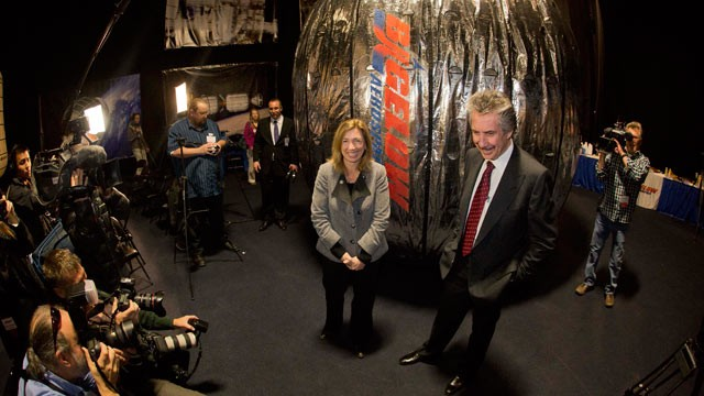PHOTO: NASA deputy administrator, Lori Garver, left, and Bigelow Aerospace president Robert Bigelow, pose for photos and video in front of the Bigelow Expandable Activity Module during a news conference on Jan. 16, 2013, in Las Vegas.