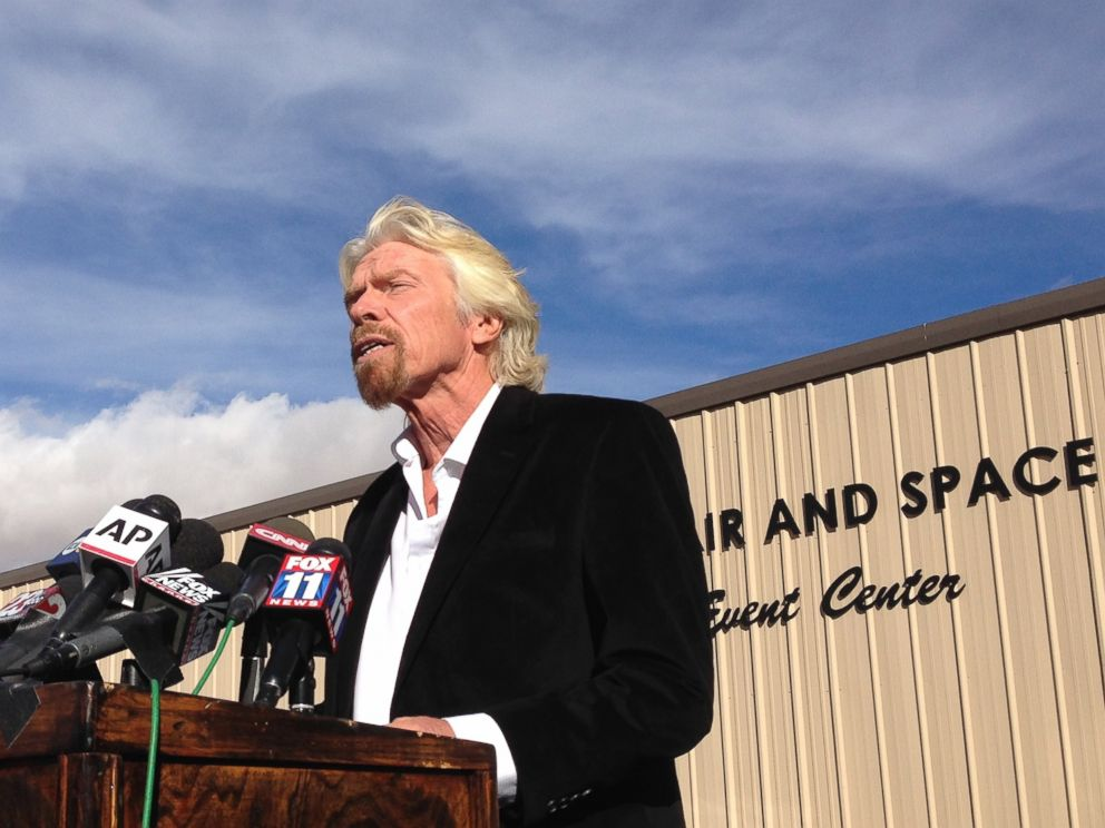 PHOTO: Billionaire Virgin Galactic founder Richard Branson vows to find out what caused the crash of his prototype space tourism rocket that killed one crew member and injured another during a news conference in Mojave, Calif., Saturday, Nov. 1, 2014.