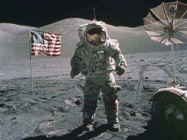 PHOTO: In this Dec. 12, 1972, photo provided by NASA, Apollo 17 commander Eugene Cernan stands on the moon.
