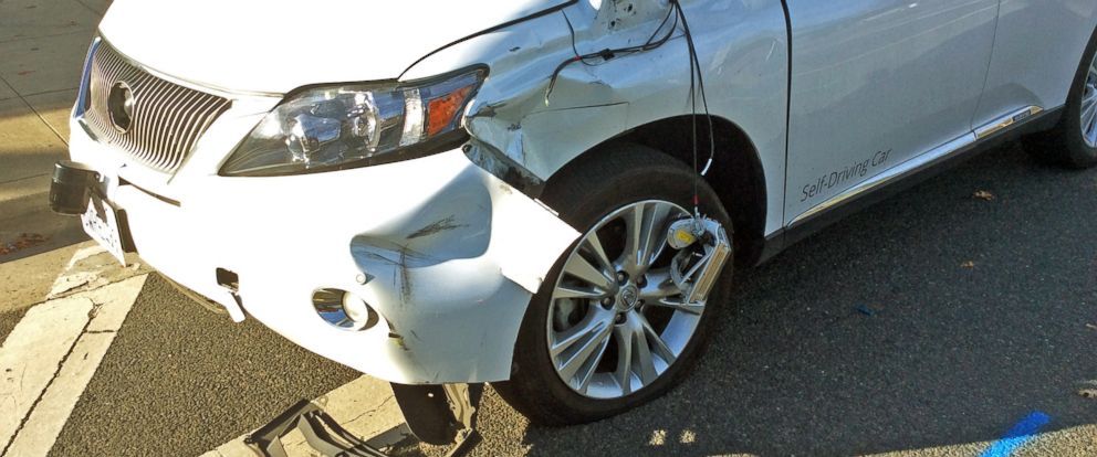 PHOTO: This Feb. 14, 2016, photo provided by the Santa Clara Valley Transportation Authority shows damage to a self-driving Lexus SUV, operated by Google, that collided with a public bus in Mountain View, Calif.