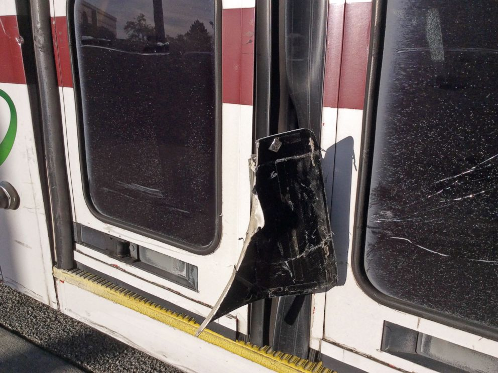 PHOTO: This Feb. 14, 2016, photo provided by the Santa Clara Valley Transportation Authority shows damage to a public bus after a self-driving Lexus SUV, operated by Google, collided with it in Mountain View, Calif.