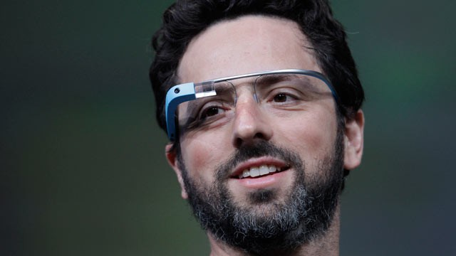 PHOTO: Google co-founder Sergey Brin demonstrates Googles new Glass, the wearable internet glasses shown at the Google I/O conference in San Francisco, June 27, 2012.