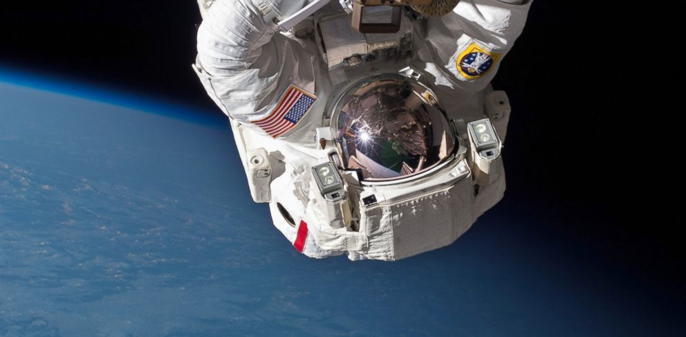PHOTO: Astronaut Chris Cassidy performs a space walk on the International Space Station in this May 11, 2013 NASA file photo.
