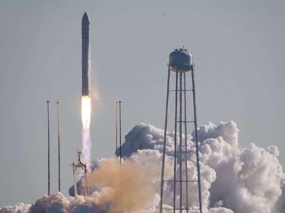 PHOTO: This photo provided by NASA shows an Orbital Sciences Corporation Antares rocket launches at NASAs Wallops Flight Facility, Thursday, Jan. 9, 2014, Wallops Island, Va.