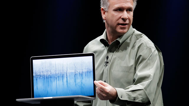 PHOTO: Apple Phil Schiller speaks about the new MacBook Pro at the Apple Developers Conference in San Francisco, June 11, 2012.