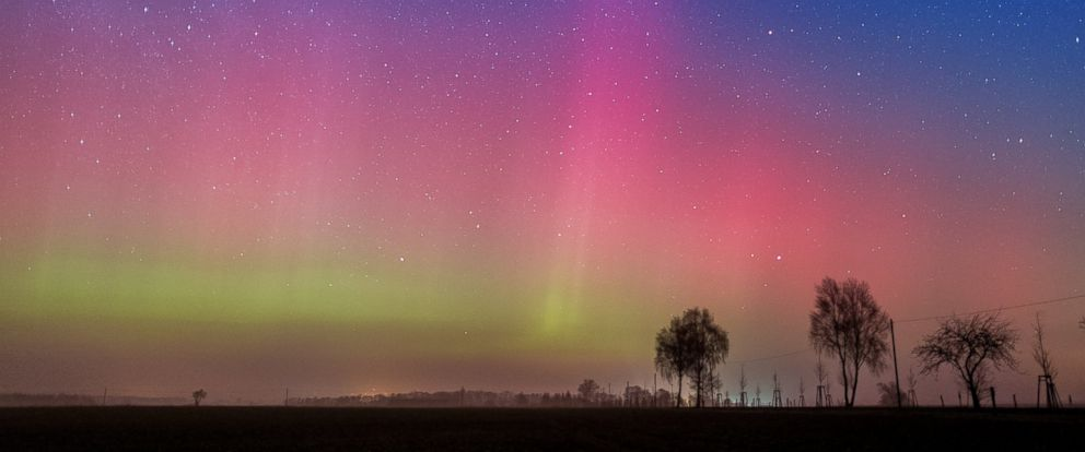 PHOTO: The Northern Lights illuminate the night sky near Lietzen, eastern Germany, in a long-exposure photograph made on March 6, 2016.