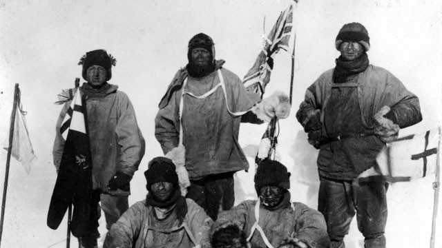 PHOTO: Capt Robert Falcon Scott, top row center, and his ill fated South Pole expedition team pose at the pole in this Jan. 17, 1912 file photo.