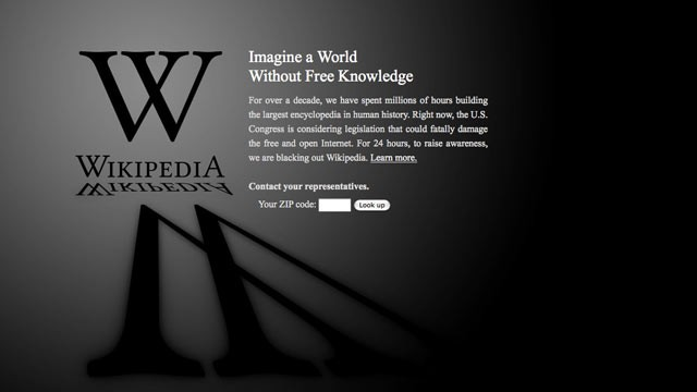 "PHOTO: This screen shot shows the blacked-out Wikipedia website, announcing a 24-hour protest against proposed legislation in the U.S. Congress, intended to protect intellectual property that critics say could facilitate censorship, referred to as the ""St"