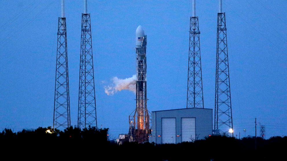PHOTO: A Falcon 9 SpaceX rocket sits on Launch Complex 40 just before the launch window opened at the Cape Canaveral Air Force Station in Cape Canaveral, Fla.