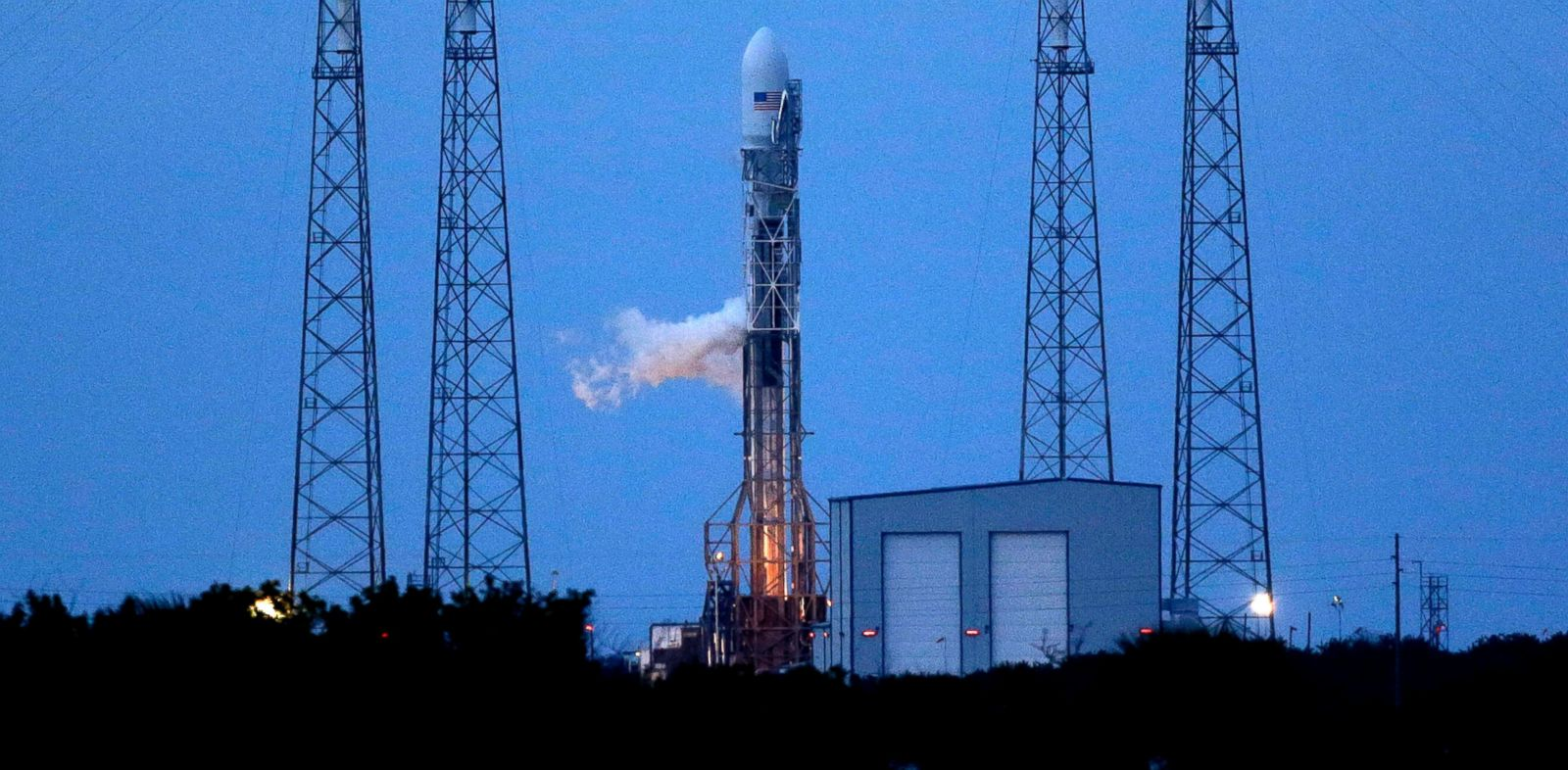 PHOTO: A Falcon 9 SpaceX rocket sits on Launch Complex 40 just before the launch window opened at the Cape Canaveral Air Force Station in Cape Canaveral, Fla. on Nov. 25, 2013. The launch was later rescheduled.