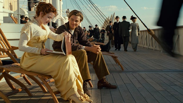 "PHOTO: In this film image released by Paramount Pictures, Leonardo DiCaprio and Kate Winslet, left, are shown in a scene from the 3-D version of James Cameron's romantic epic ""Titanic."""