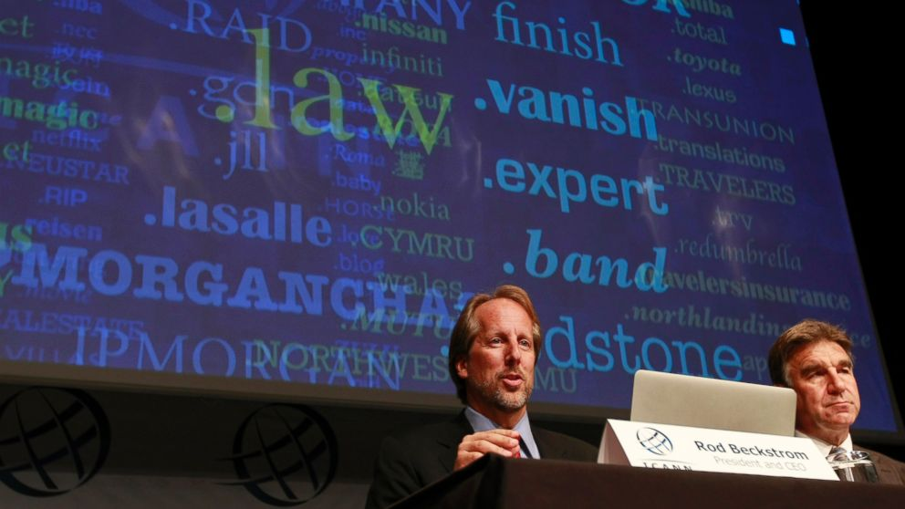 PHOTO: Internet Corporation for Assigned Names and Numbers (ICANN) President Rod Beckstrom, left, and Kurt Pritz, Senior Vice President speak on expanding the number of domain name suffixes during a press conference in London on June 13, 2012.