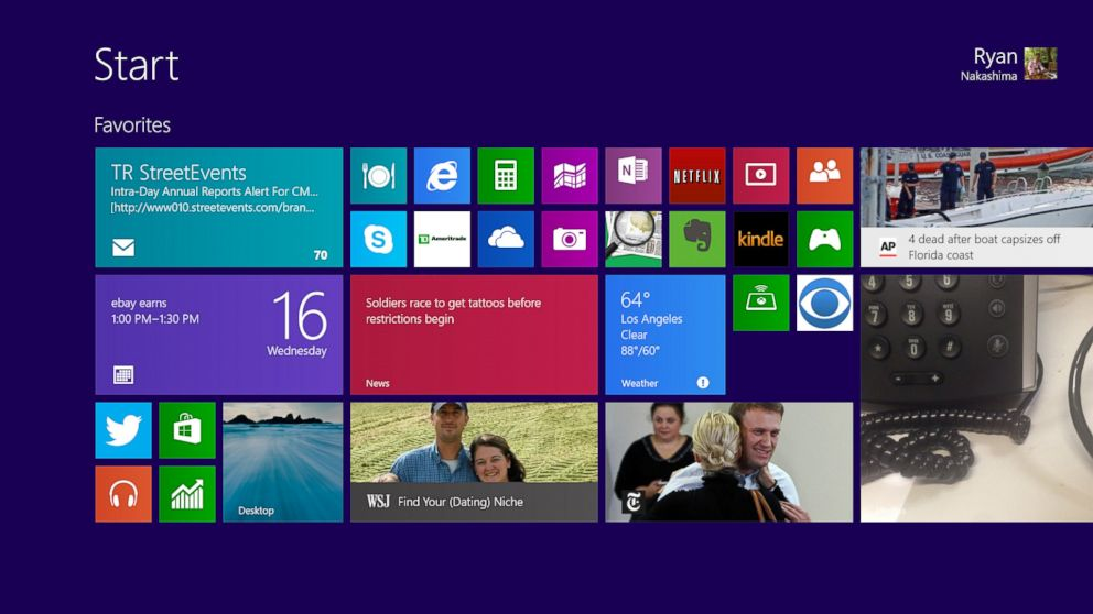 PHOTO: A pre-release version of Windows 8.1 is shown on a tablet in Los Angeles, Oct. 16, 2013.