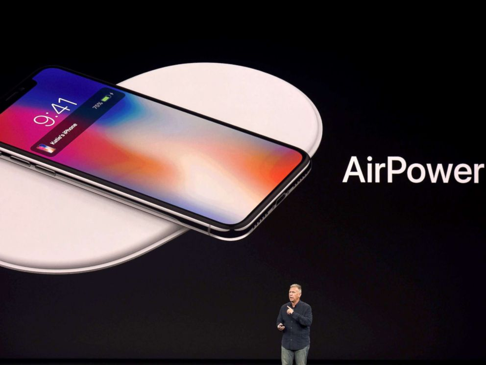 PHOTO: Senior Vice President of Worldwide Marketing at Apple Philip Schiller introduces AirPower, a wireless charging system, during a media event in Cupertino, Calif., Sept. 12, 2017.