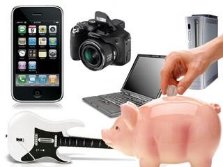 Piggy bank, iPhone, camera, cheap electronics