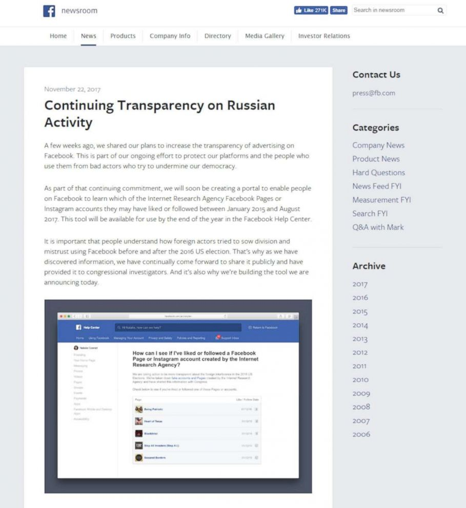 FacebookA Facebook press release on the company's plan to increase the transparency in advertising on the site