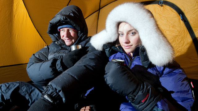 PHOTO: British explorer David Hempleman-Adams, left, and his daughter Amelia Hempleman-Adams pose for photographs in a tent inside a frozen food storage facility in Swindon, Nov. 11, 2011 as they prepare to attempt to ski to the South Pole.