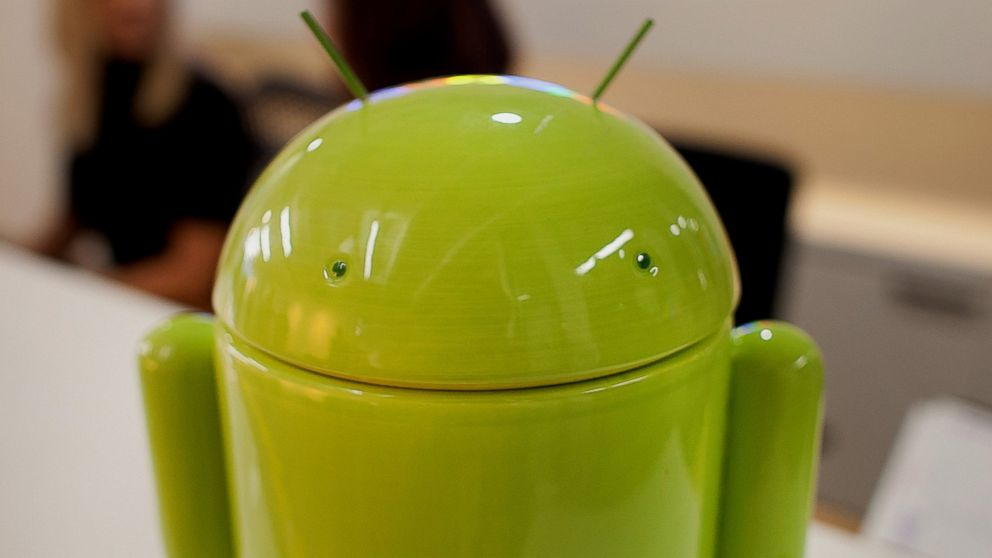 PHOTO: The Google Inc. Android character stands at the front desk during a media tour for the grand opening of Google Inc.s new office in Toronto, Canada, Nov. 13, 2012.