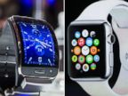 A Samsung Gear S mobile watch is seen in Berlin on Sept. 3, 2014 and the Apple Watch is announced in Cupertino, Calif. on Sept. 9, 2014.