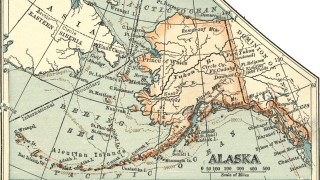 PHOTO:A map of Alaska, circa 1902, showing the Bering Strait which may have been part of a land bridge that allowed the first humans to walk to North America from Asia.