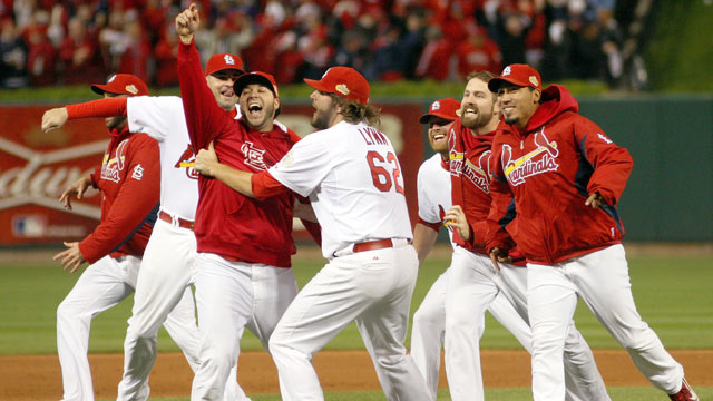 PHOTO: Lance Lynn #62 and the St. Louis Cardinals celebrate after defeating the Texas Rangers 6-2 to win the World Series in Game Seven of the MLB World Series at Busch Stadium, Oct. 28, 2011 in St Louis, Missouri.
