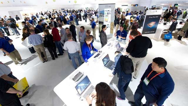 PHOTO: Attendees walk through the Samsung Electronics Co. booth at the International Consumer Electronics Show in Las Vegas, Nevada, Jan. 13, 2012.