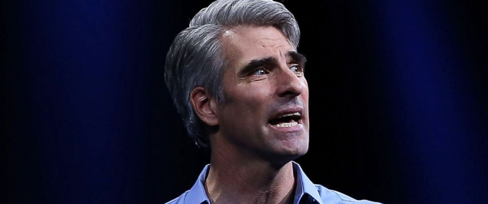 PHOTO: Craig Federighi, Apples senior vice president of Software Engineering, speaks during Apple WWDC on June 8, 2015 in San Francisco.