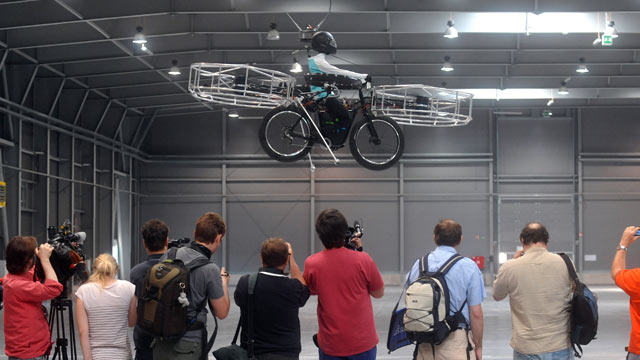PHOTO: Dessault Systemes-3D software tools and Czech designers constructed a flying bicycle at the hall of Letnany fairground in Prague, Jun
