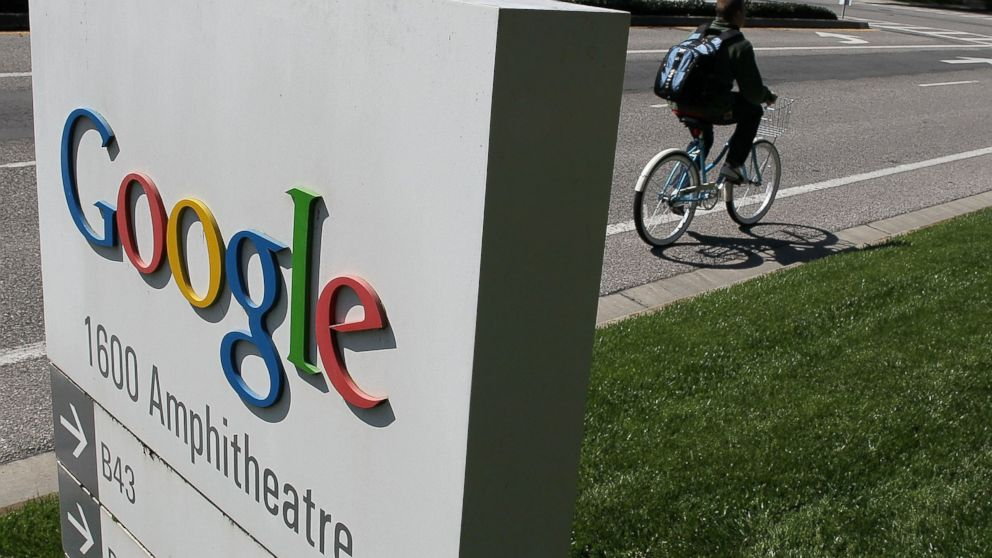 PHOTO: A bicyclist rides by a sign outside of the Google headquarters March 10, 2010 in Mountain View, Calif.