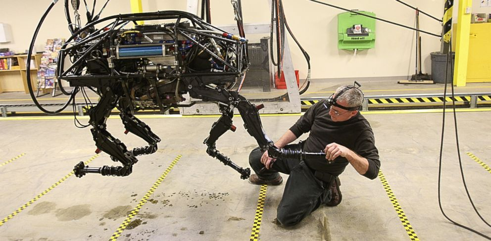 PHOTO: A BigDog robot at Boston Dynamics, which is being developed to help soldiers carry heavy equipment in the field.