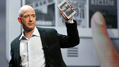 PHOTO: Jeff Bezos, chief executive officer of Amazon.com Inc., introduces the new Kindle Touch e-reader at a news conference, New York, Sept. 28, 2011.