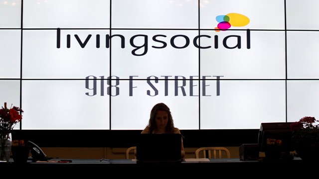 PHOTO: View of the reception desk at Living Social in Washington on June 26, 2012.