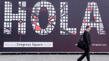 PHOTO: Several attendees are at the Mobile World Congress that was held in Barcelona, Spain, Feb. 27, 2014.