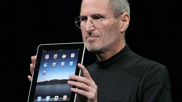 PHOTO: Apple Inc. CEO Steve Jobs holds up the new iPad as he speaks during an Apple Special Event at Yerba Buena Center for the Arts, San Francisco, Cali., Jan. 27, 2010.