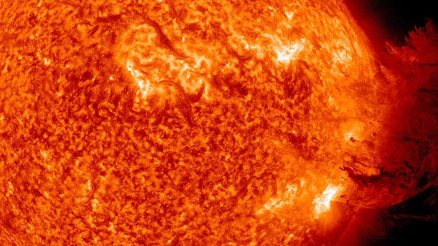 PHOTO: In this handout from NASA/Solar Dynamics Observatory, a solar large flare erupts off the sun in space, June 7, 2011.