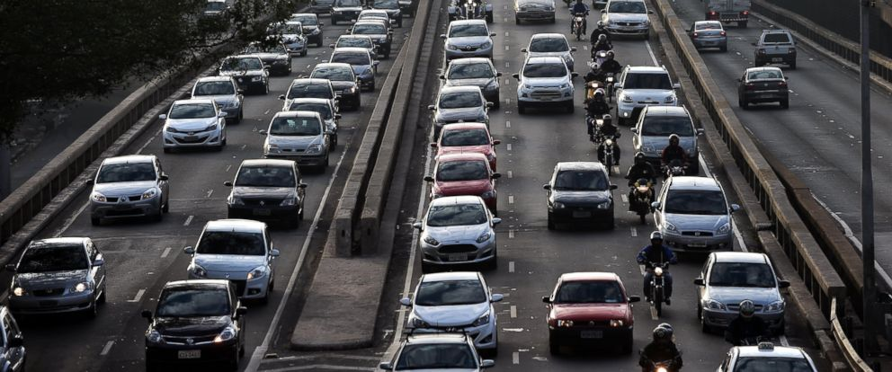 PHOTO: View of heavy traffic on a road in Sao Paulo, Brazil on June 5, 2014, during a metro strike.