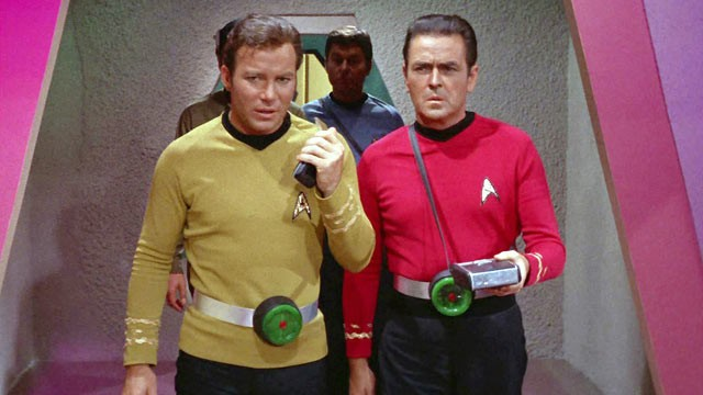 "PHOTO: William Shatner as Captain James T. Kirk, DeForest Kelley as Dr. McCoy and James Doohan as Montgomery ""Scotty"" Scott, in the STAR TREK episode, ""Spock's Brain."" The Original airdate was, Sept. 20, 1968."