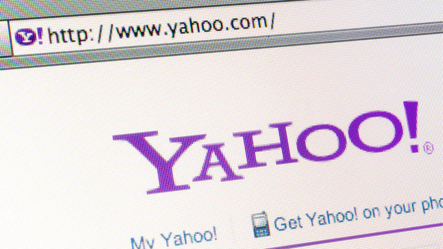 PHOTO: The Yahoo! Inc. website is displayed for a photograph in New York,.
