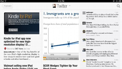 PHOTO: Flipboard lets you sign into your Facebook and Twitter account and brings in the articles that your friends are sharing.
