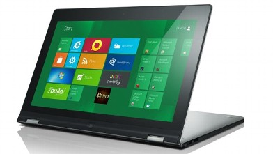 PHOTO: Introduced at CES 2012, the Lenovo Yoga is a Windows 8 laptop that morphs into a tablet with a bendable screen.