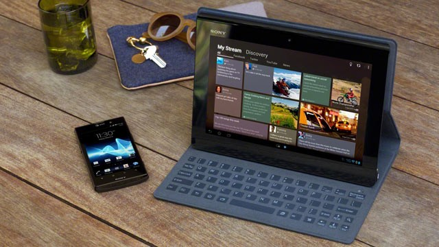 PHOTO: Sony's Xperia Tablet S runs Android 4.0 and has a unique keyboard dock.