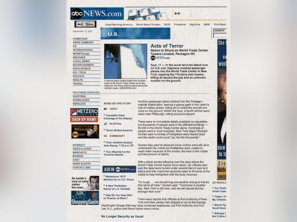 PHOTO: A screen grab of ABCnews.com from September 11, 2001.