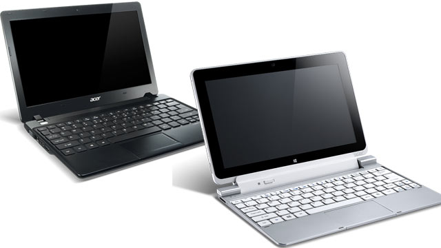 PHOTO: An Acer netbook is pictured left, an Acer Windows 8 tablet / keyboard hybrid on the right.